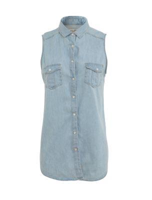 Blue sleeveless denim shirt