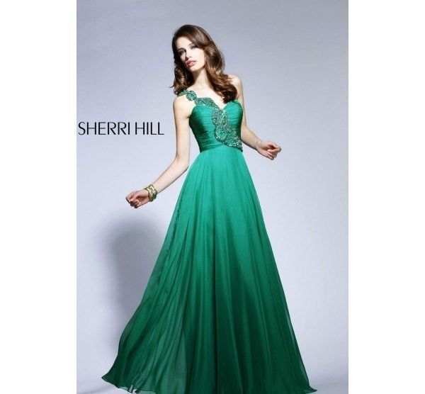 Sherri Hill 1456 Emerald Green One Shoulder Full Length Gown Sz 10 Prom | eBay