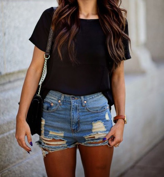 shorts denim style summer outfits ripped