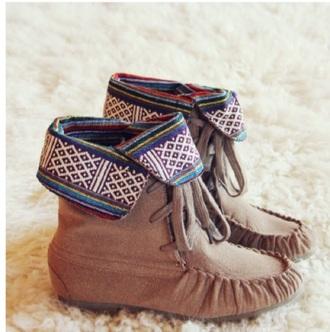 comfy tribal pattern aztec moccasins shoes