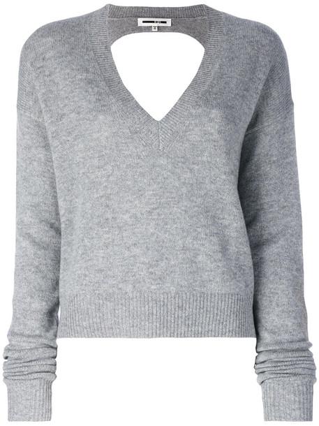 McQ Alexander McQueen - cut-out jumper - women - Cashmere/Wool - L, Grey, Cashmere/Wool