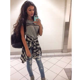 t-shirt sophia miacova style shirt grey t-shirt swag jeans shoes