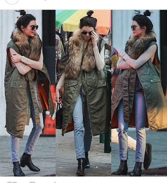 coat olive green kendall jenner faux fur faux fur vest faux fur jacket green kendall and kylie jenner outfit fall outfits winter coat warm fur vest long coat