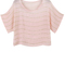 Gold chain stripes pink chiffon shirt [ncsh0048] - $42.00 :