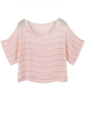 Gold chain stripes pink chiffon shirt [ncsh0048]