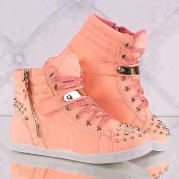 shoes high top sneakers peach studded shoes studs sneakers high top