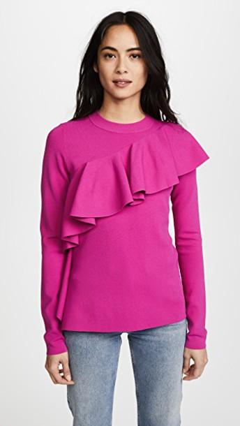 Diane Von Furstenberg sweater long ruffle pink