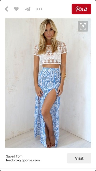 skirt blue and white long with slitss patterned blue and white long skirt with slits