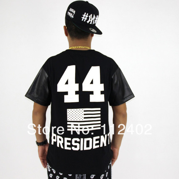 shirt flag white t-shirt black 44 president leather stars unisex