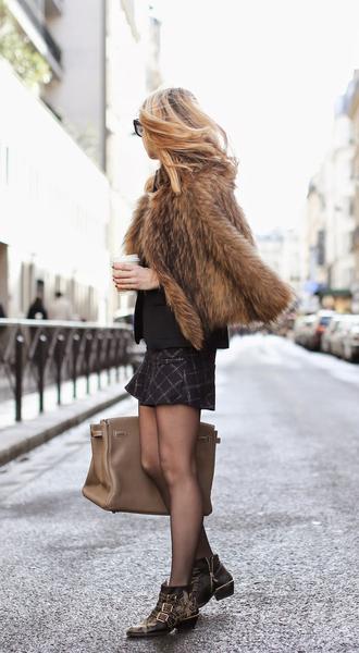 shoes fur coat black blazer checkered skirt brown bag studded shoes blogger