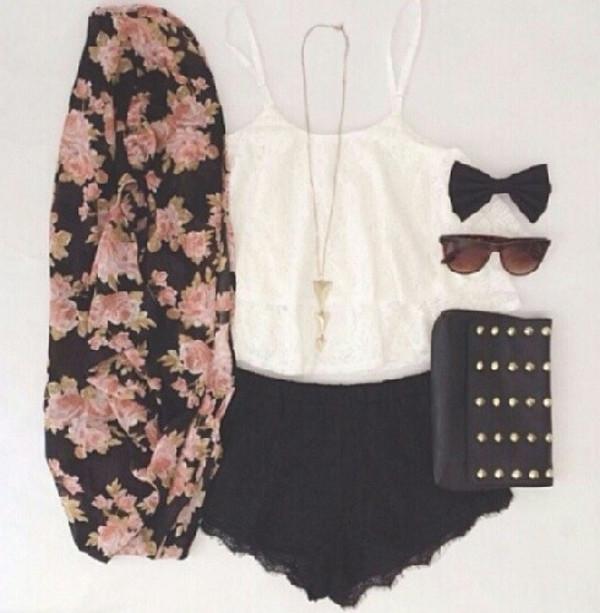 blouse shorts white crop tops glasses cardigan bag jewels sunglasses