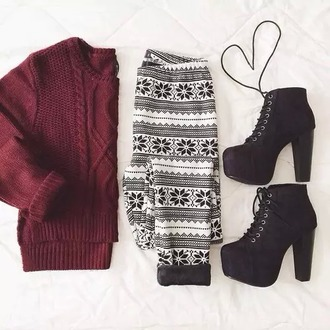 sweater oversized sweater shirt shoes heels booties leggings jeggings pants outfit