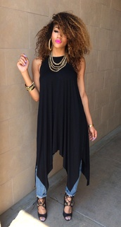 top,tunic,dress,free flowing,black