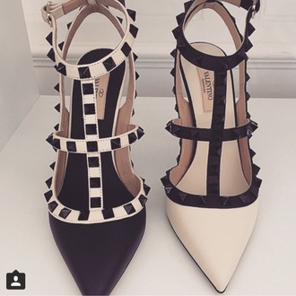 shoes high heels black heels nude nude high heels spikes valentino