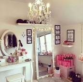 bag,mirror,vintage,girly,dress mirror,lights,pinterest,interior,victoria's secret,home decor,home accessory,white vanity,makeup table