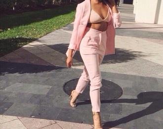 pants nude pink blazer bralette