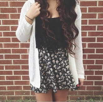 cardigan white cream knitwear skirt clothes floral floral skirt white cardigan shirt black black top