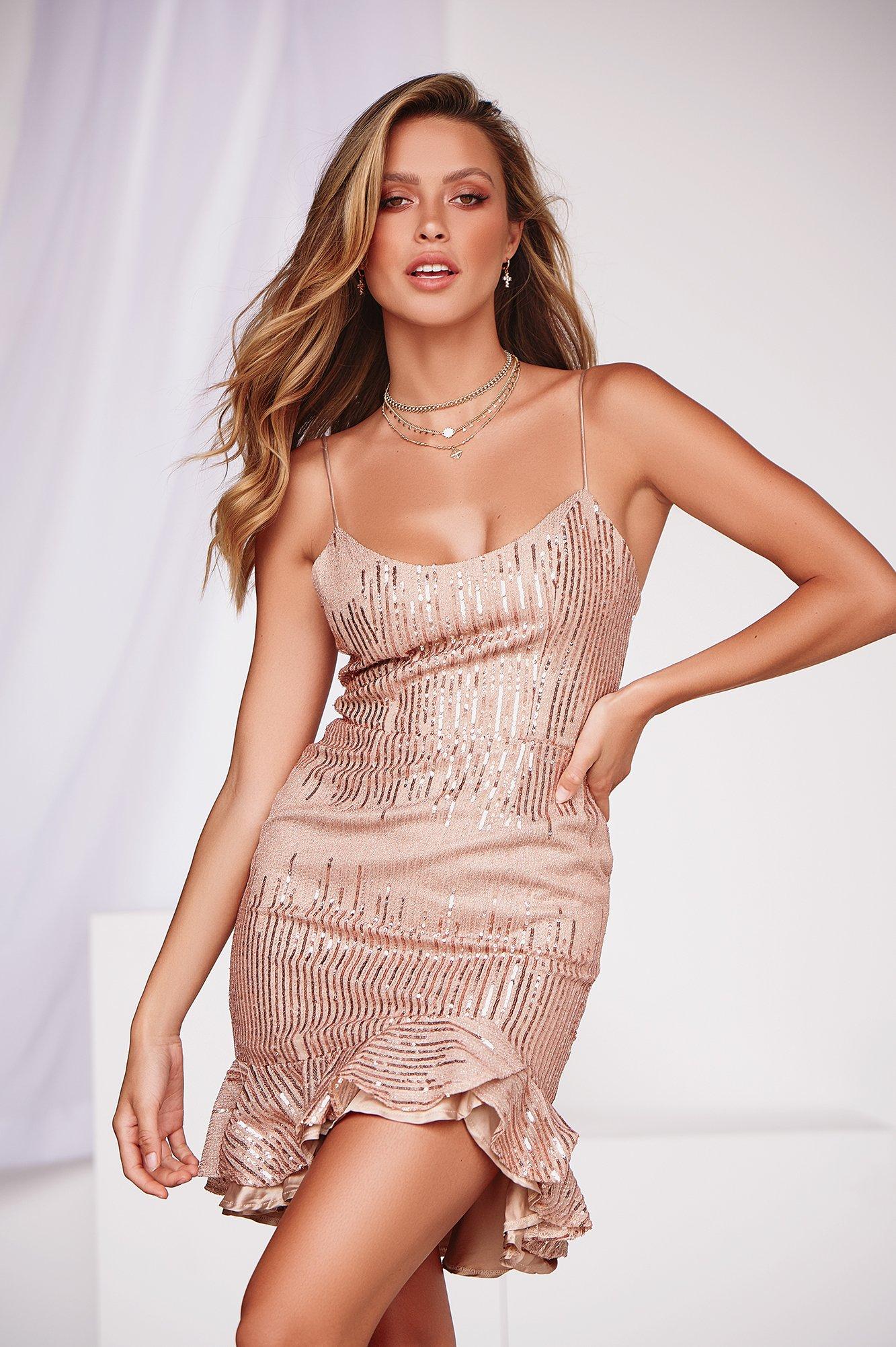 Lets Get Loud Dress (Rose Gold)