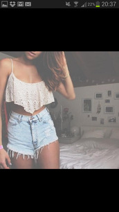 tank top,shirt,shorts,high rise,High waisted shorts,hipster,spaghetti strap top,blouse,crop tops,white,ripped light jean shorts,cute,lace,jeans,top,high waisted,t-shirt,denim shorts,ripped shorts,cross,blonde hair,orange shirt,summer,crochet,crop,bra,bralette,denim,blonds,tan,jb,fashion inspo,inspiration,thinspo,weheartit,frayed,blue,lace crop top,hot pants,floral,nice,sweet,perfect,girl,sea,beach,short,boho,tumblr shorts,dress,style,white t-shirt,triangle,lovely,i look fo this white croptop,white crop tops,lace top,clothes,vintage,high waisted denim shorts,summer shorts