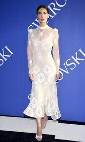 dress,midi dress,lace dress,lace,lily aldridge,sandals,model
