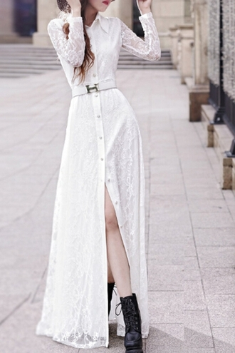 dress maxi white lace long dress summer long sleeves belt cute