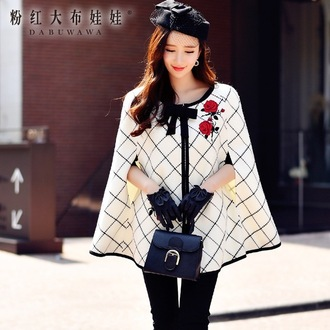 coat cape cream white black red roses bow
