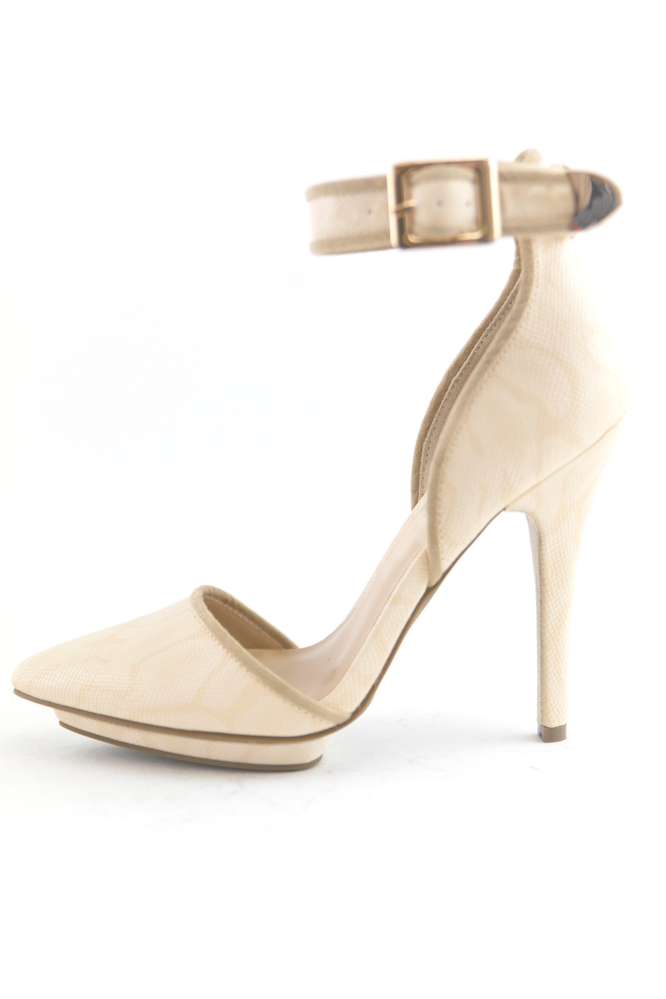 JANE ANKLE STRAP PUMP - NATURAL | Haute & Rebellious
