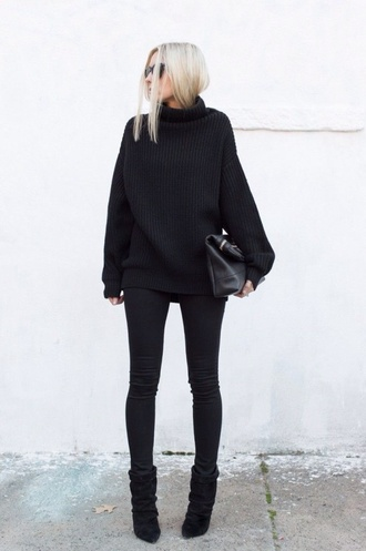 sweater turtleneck black top black sweater knitted sweater baggy sweaters chic