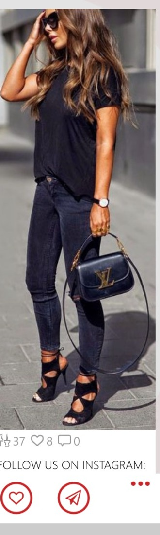 bag louis vuitton bag louis vuitton fashion is a playground fashion vibe fashion all black everything round frame glasses wavy hair classy and fabulous cut out ankle boots heels watch vintage