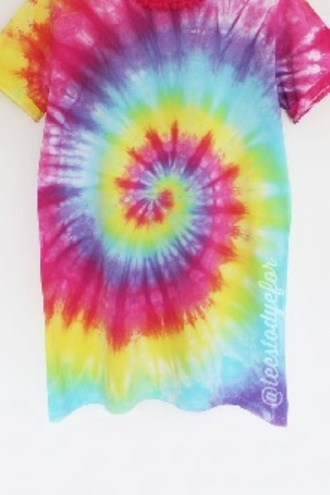 dress t-shirt t-shirt dress tie dye pastel yellow green pink red blue purple white tie dye shirt