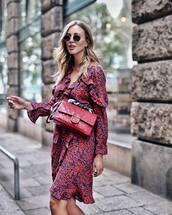 dress,ruffle dress,midi dress,long sleeve dress,v neck dress,crossbody bag,sunglasses