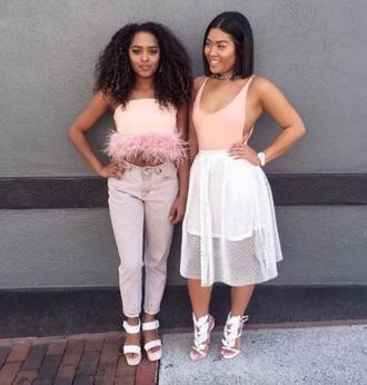 shirt pink fuzzy shirt heels long skirt pink light pink