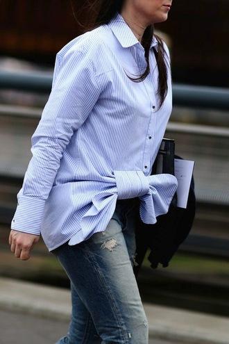 le fashion image blogger tie front striped shirt blue shirt