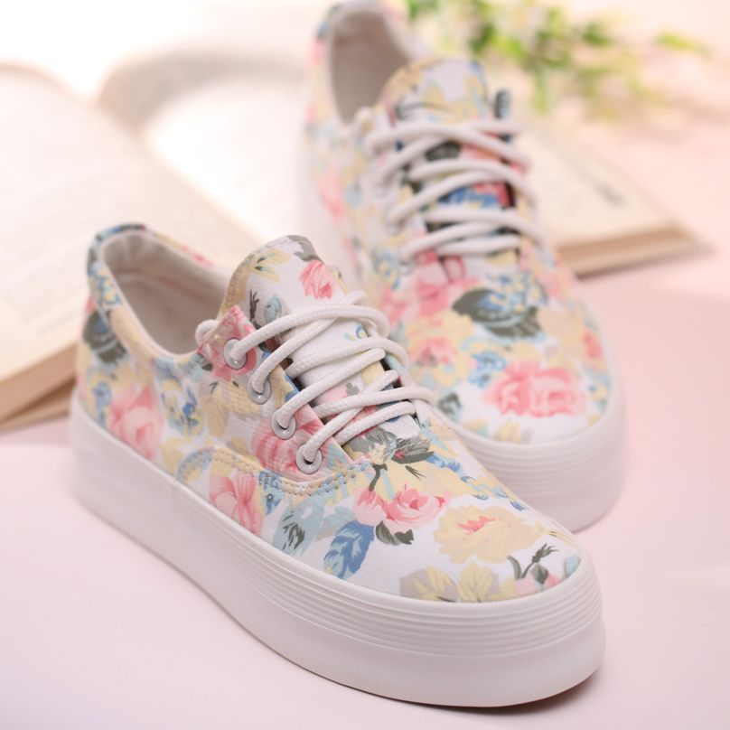 Women's Floral Print Thick Soled Canvas Sneaker 040514 from TheaShoesShop on Storenvy