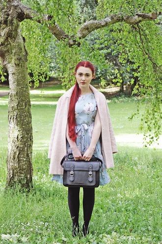 briar rose blogger pink coat floral dress satchel bag