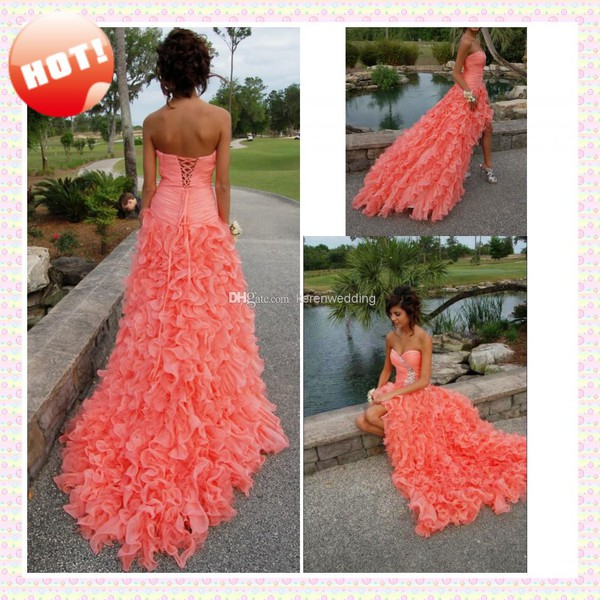 pink prom dress high low long dress