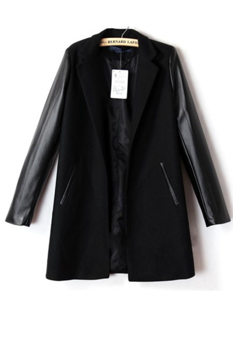 Leather Sleeve Women Long Sections Overcoat,Cheap in Wendybox.com