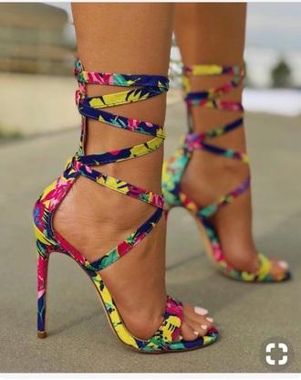shoes pink blue green yellow heels high heels