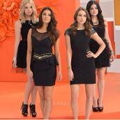 dress,pretty little liars,black dress,little black dress,prom dress,homecoming dress,ashley benson,lucy hale,shoes
