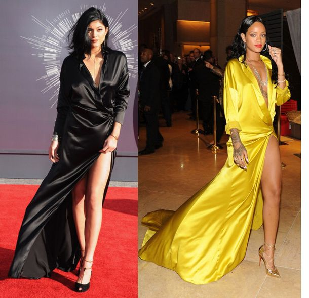 Dress: rihanna kylie jenner black yellow silk satin - Wheretoget