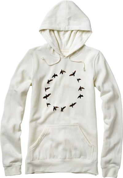 white sweater birds cream sweater hoodie white hoodie birds print