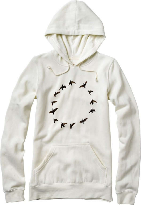 hoodie white hoodie cream sweater white sweater birds birds print