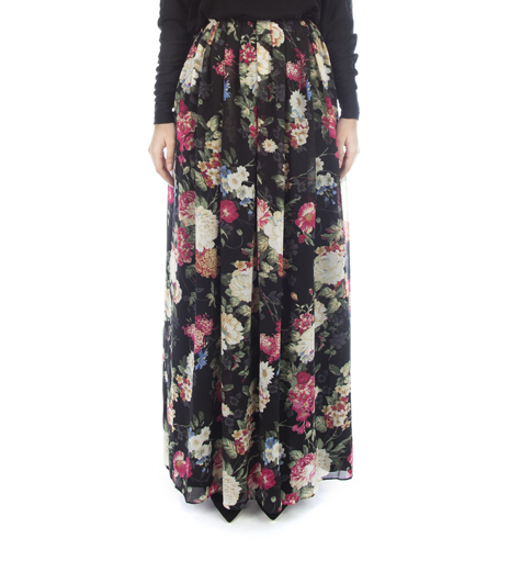 BLACK FLORAL PLEATED SKIRT - £34.99 : Inayah, Islamic clothing & fashion, abayas, jilbabs, hijabs, jalabiyas & hijab pins