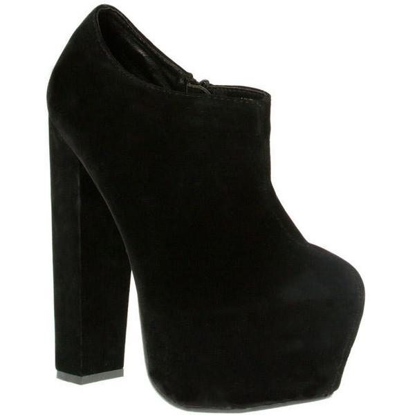 Black Suede Chunky Heel Ankle Boots - Footwear - desireclothing.co.uk