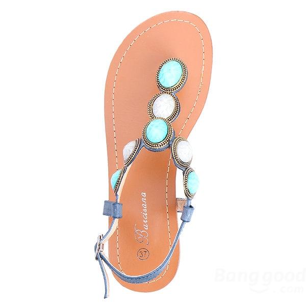 Cabochon Stone Flat Sandals - CA$23.68