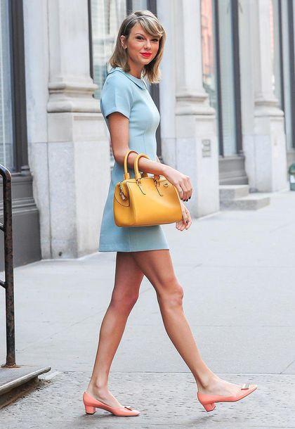 Lip color with a light blue dress