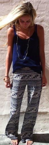 pants,tribal pants,leggings,aztec,pajamas,pattern,black,white,black and white,lazy day,comfy,loose,shirt,blue,style,fashion,blue shirt,blue printing,summer top,chic,cute,spring,palazzo pants,aztec pants,tank top,blue tank top,printed pants