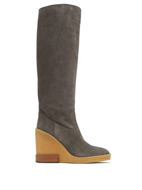 Tod's - Knee High Suede Wedge Boots - Womens - Grey