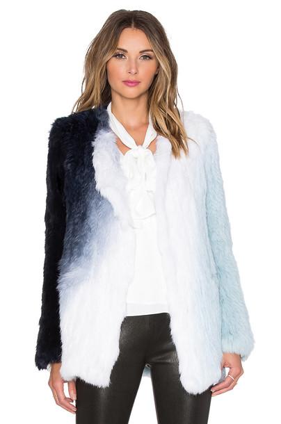 Elizabeth and James jacket fur jacket fur blue