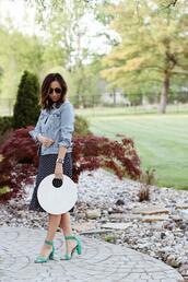 lilly's style,blogger,hat,dress,jacket,shoes,bag,sunglasses,sandals,high heel sandals,round bag,denim jacket,spring outfits